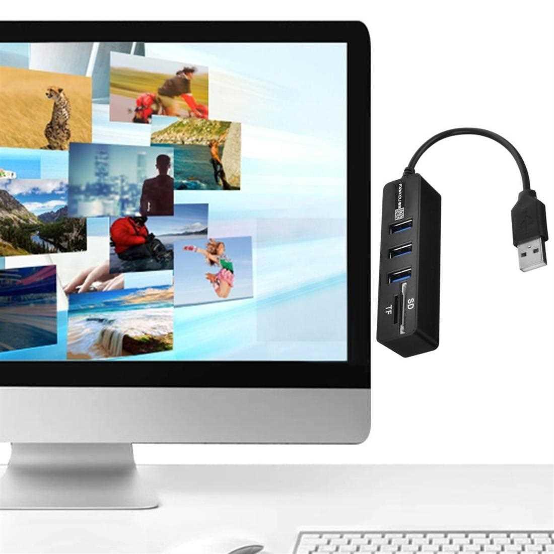 Maikou USB Splitter High-speed USB3.0 HUB Security Digital Card TF Card Reader (Standard)