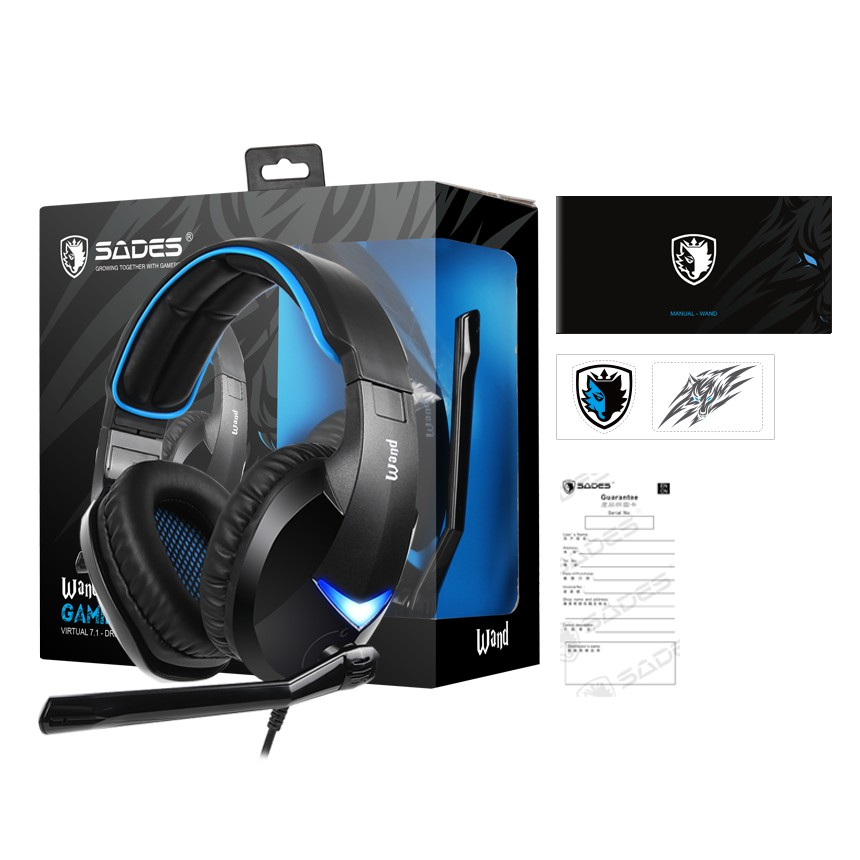 {SD-WAND-BLUE} Sades Wand 7.1 Gaming Headset - PS4/ PS5,XBOX,NS,PC,Mobile (Blue)