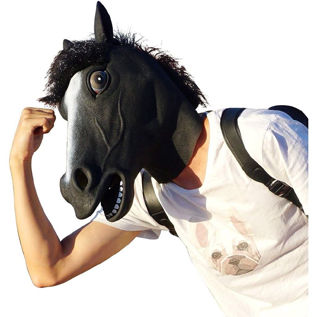 Black Horse Mask Deluxe Novelty Halloween Costume Party Latex Animal Head Mask Shopee Malaysia