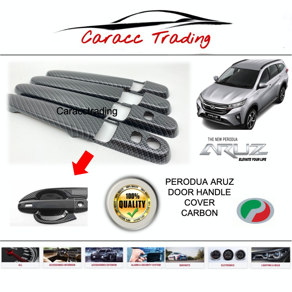HIGH QUALITY Perodua Aruz Door Handle Cover (CARBON)(1SET 4PCS)