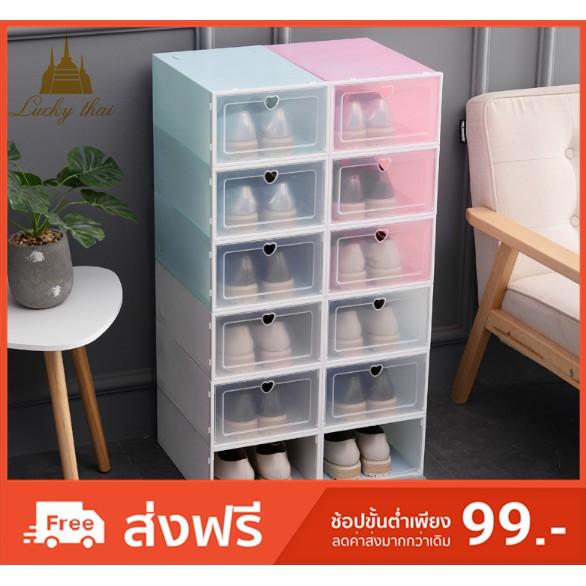 กล่องใส่รองเท้า มีให้เลือก 4 สี กล่องรองเท้า กล่องรองเท้าแบบใสฝาเปิดปิ กล่องรองเท้าเปิดฝ
