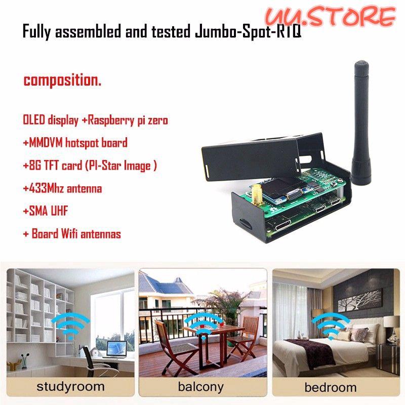 UU MMDVM Hotspot Support P25 DMR YSF+Raspberry Pi Zero+OLED+Antenna+Case+8G  Card