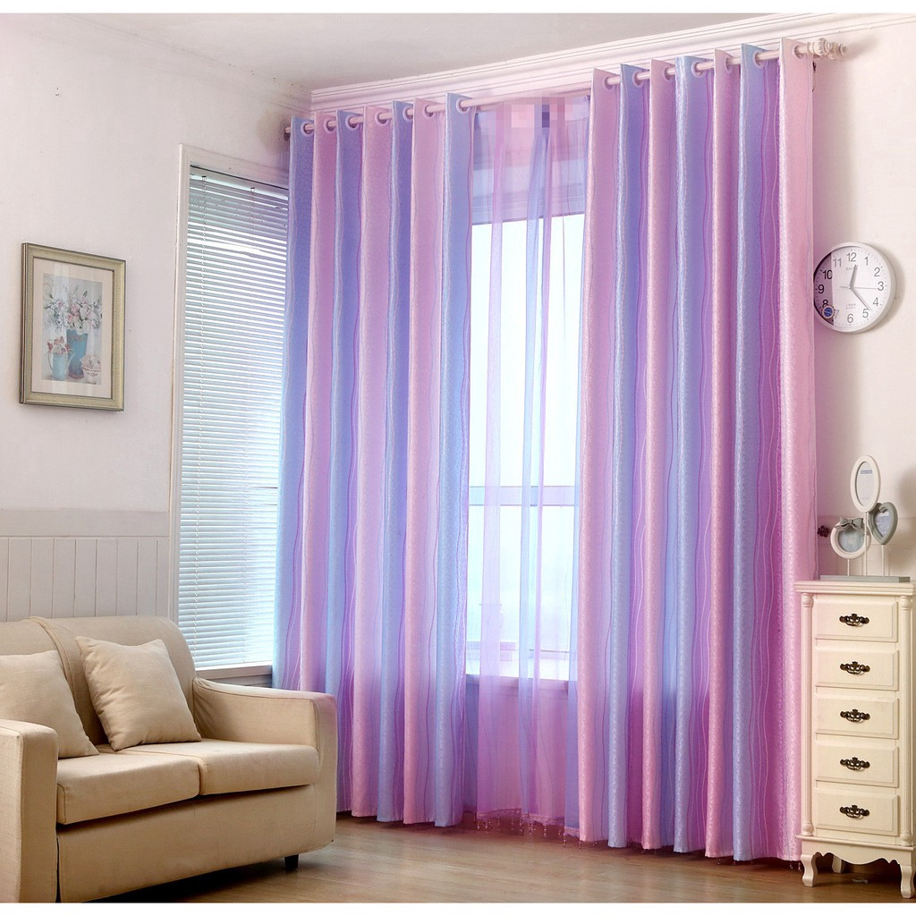 Purple Pink Blue Striped Half Blackout Curtains Thermal Insulated Curtains For Sliding Glass Door Home Decor Sheer Voile Shopee Malaysia