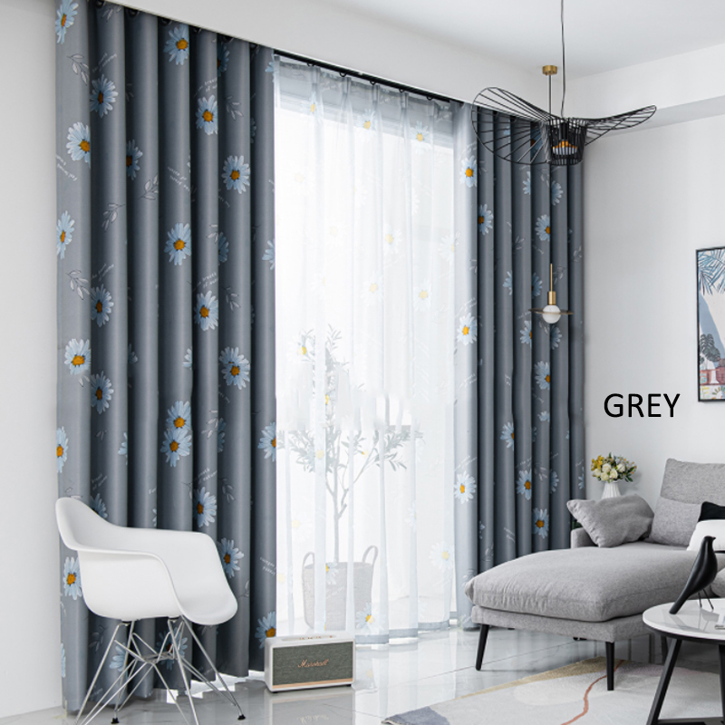 GDeal Simple Sunflower Design Thick Curtains Woven Fabric Bedroom Living Room Blackout Curtain Langsir (120CM x 160CM)