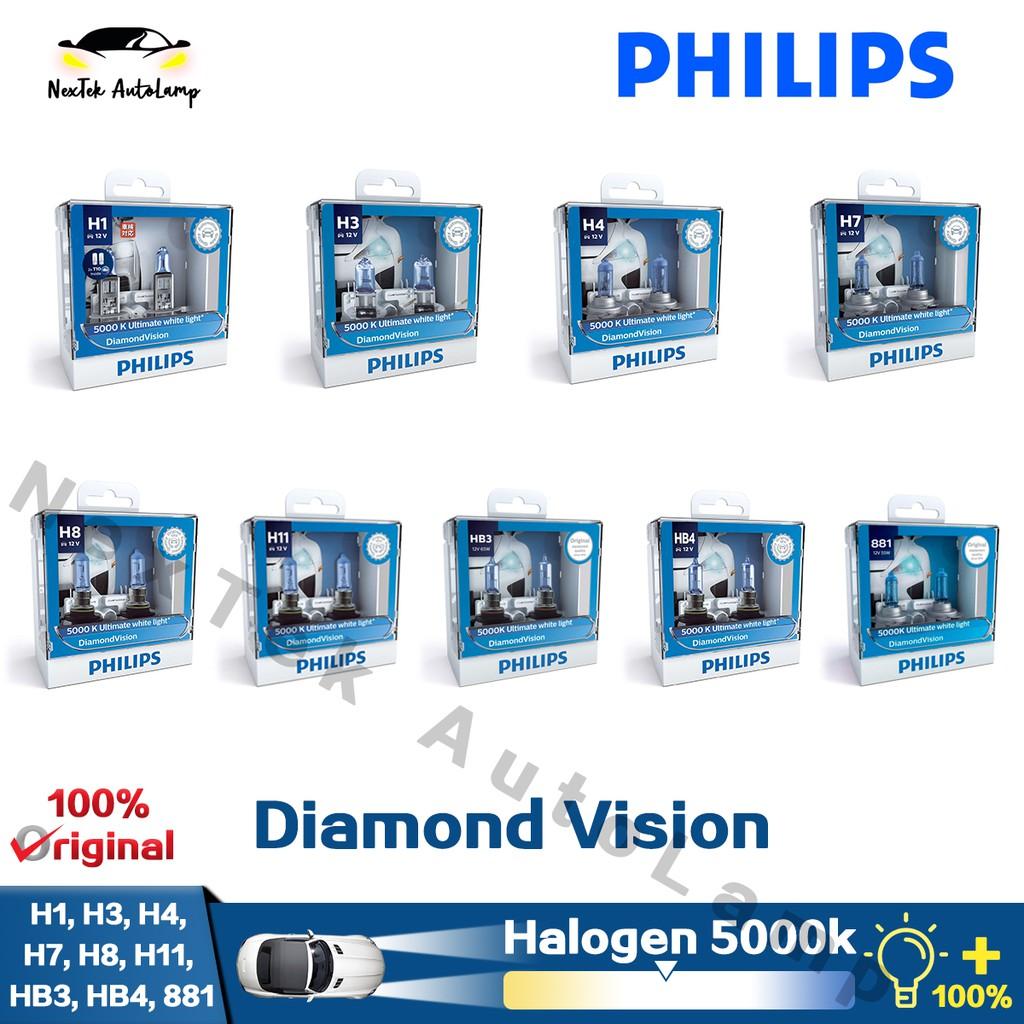 Philips H1 H3 H4 H7 H8 H11 HB3 881 Diamond Vision Car Halogen Headlight  5000K White Light Fog Lamp