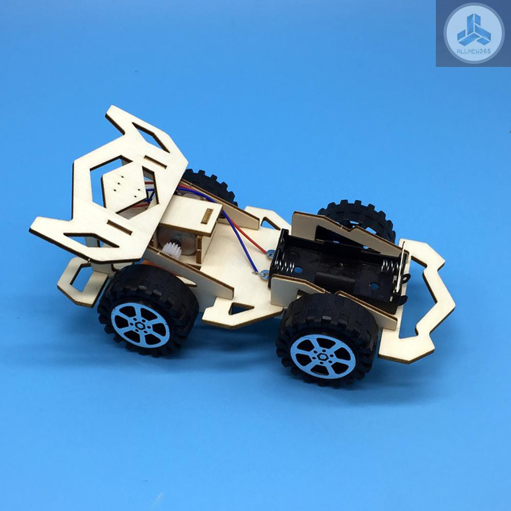 Wooden Electric Racing Car Model Science Assembly DIY Model Kit Toy For Kids
