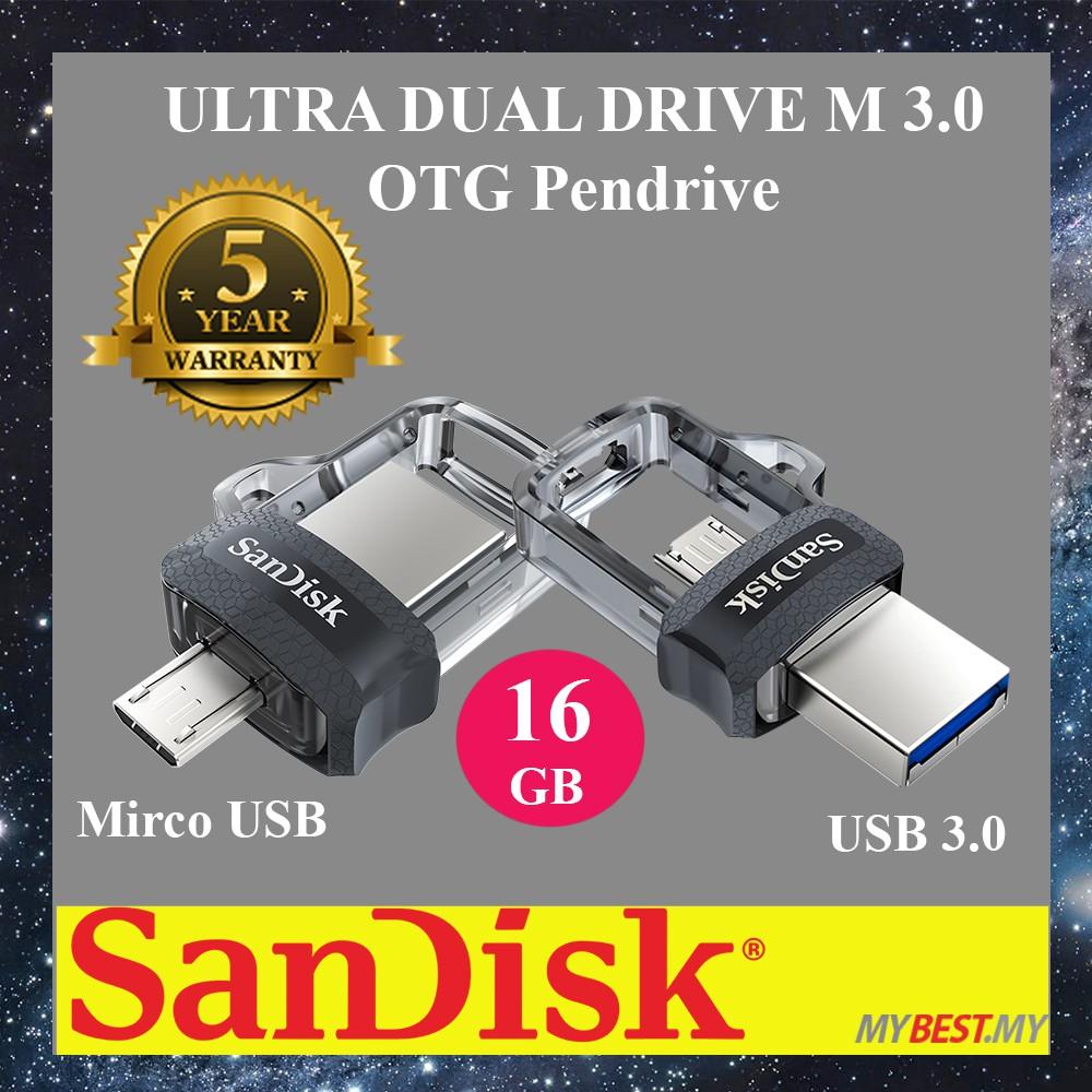 SanDisk Ultra Dual M3.0 16GB/32GB/64GB/128GB Flash Drive OTG Dual Drive OTG