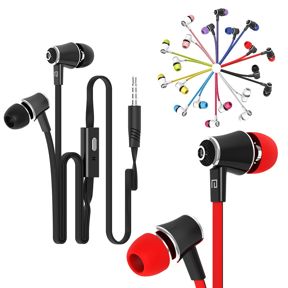 New  หูฟัง  Noodle Cable Stereo Wired 3.5mm In Ear For Samsung iPhone Mp3