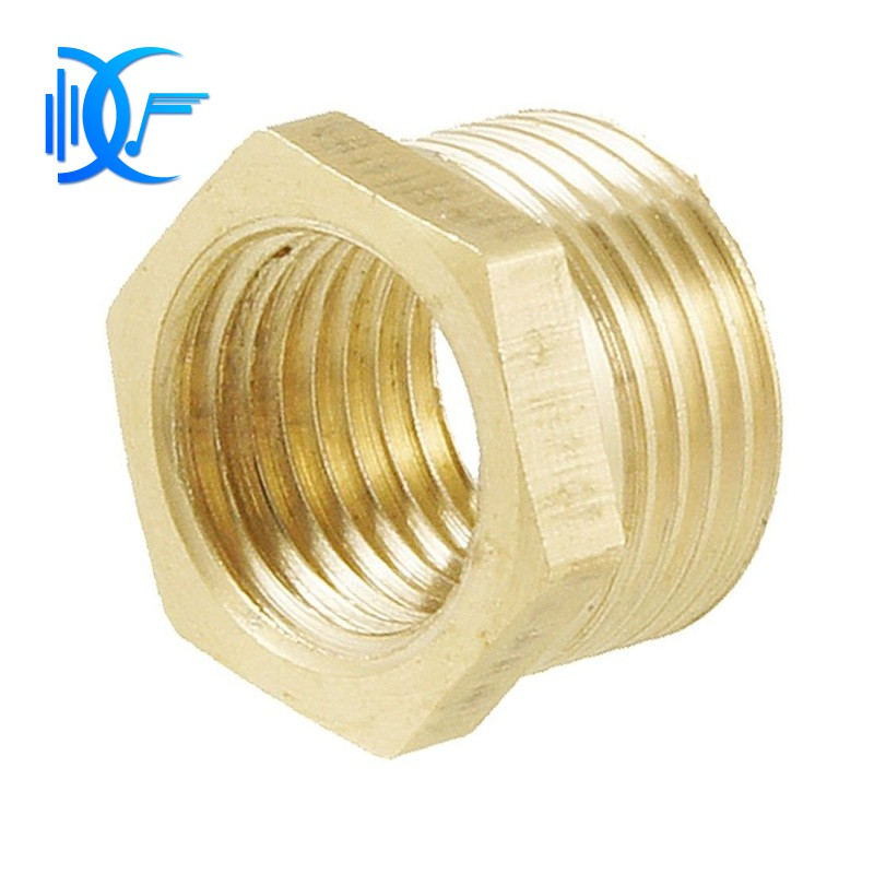 """Brass 3//8/"""" PT to 1//4/"""" PT Male Hex Nipple Reducing Connector 10pcs"""