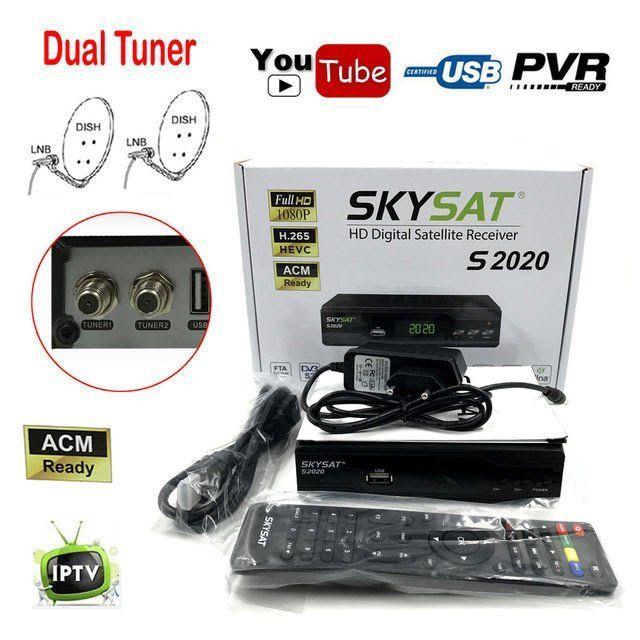 Skysat S2020 Dual Twin Dish Tuner H 265 AVC Digital Satellite Receiver