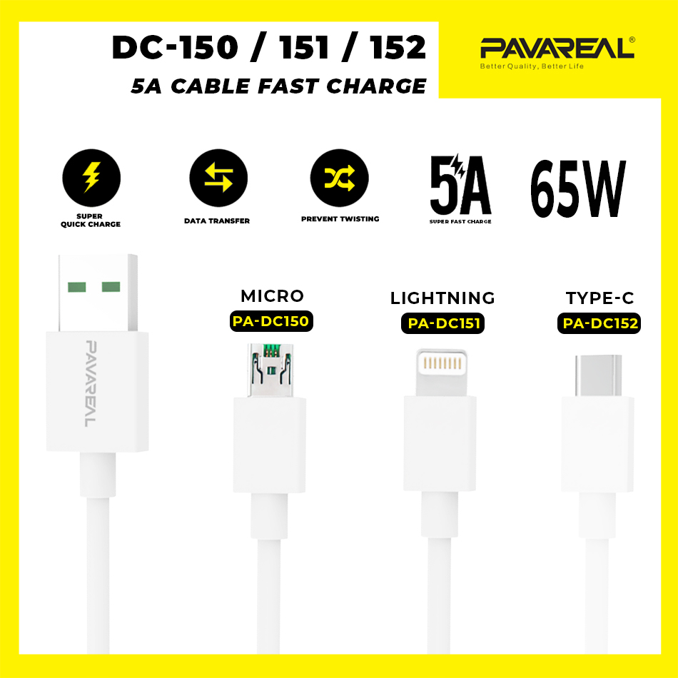 PAVAREAL PA-DC150/151/152 Super Fast 65W 5A Charging Cable Data Cable for Micro/ Lightning/Type C Samsung iPhone Huawei