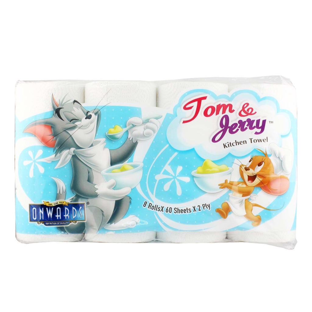 Onwards Kitchen Towel Tom & Jerry (60 Sheets x 8 Rolls)