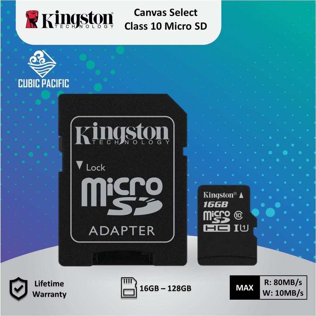 Kingston Canvas Select Micro SD 80mb/s Class 10 USH-1 ( 16GB/ 32GB/ 64GB/  128GB )