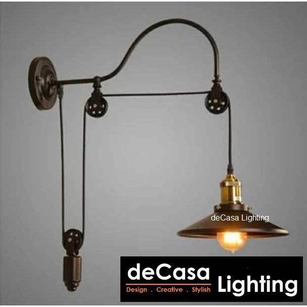 Decasa Lighting New Arrival Black Loft Wall Light E27 Holder Lampu Hiasan Dinding Best Seller Wall Lamp (6008-220-W)