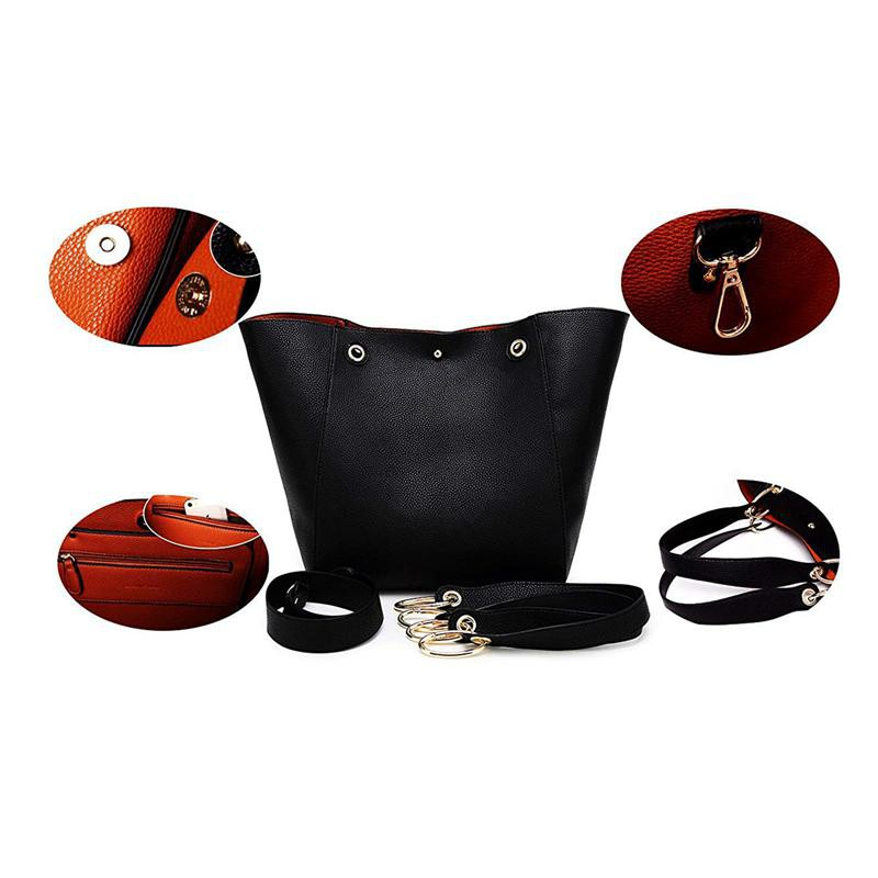 b7a36a13 Fashion Women's Leather Handbags ladies Waterproof Shoulder Bag Tote  Bags(Black)