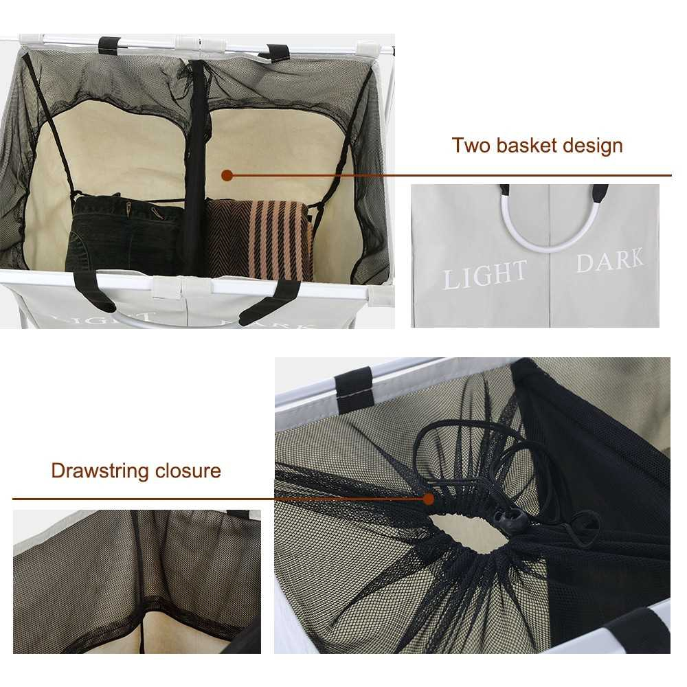 2 Sections Foldable X-frame Oxford Laundry Basket Hamper Mesh Drawstring Dirty Clothes Bin Organizer with Detachable Al