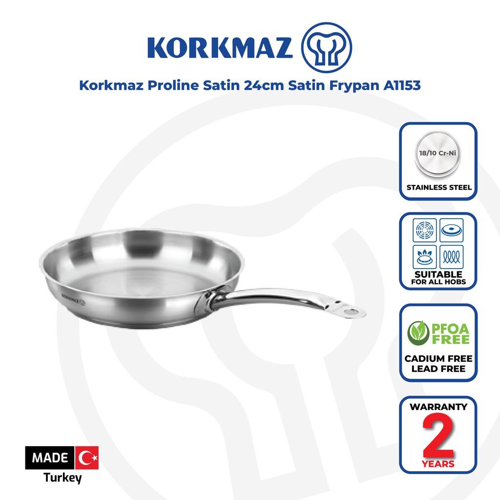 Korkmaz Proline Satin 18/10 Cr-Ni Stainless Steel Frying Pan (24x5 cm) A1153