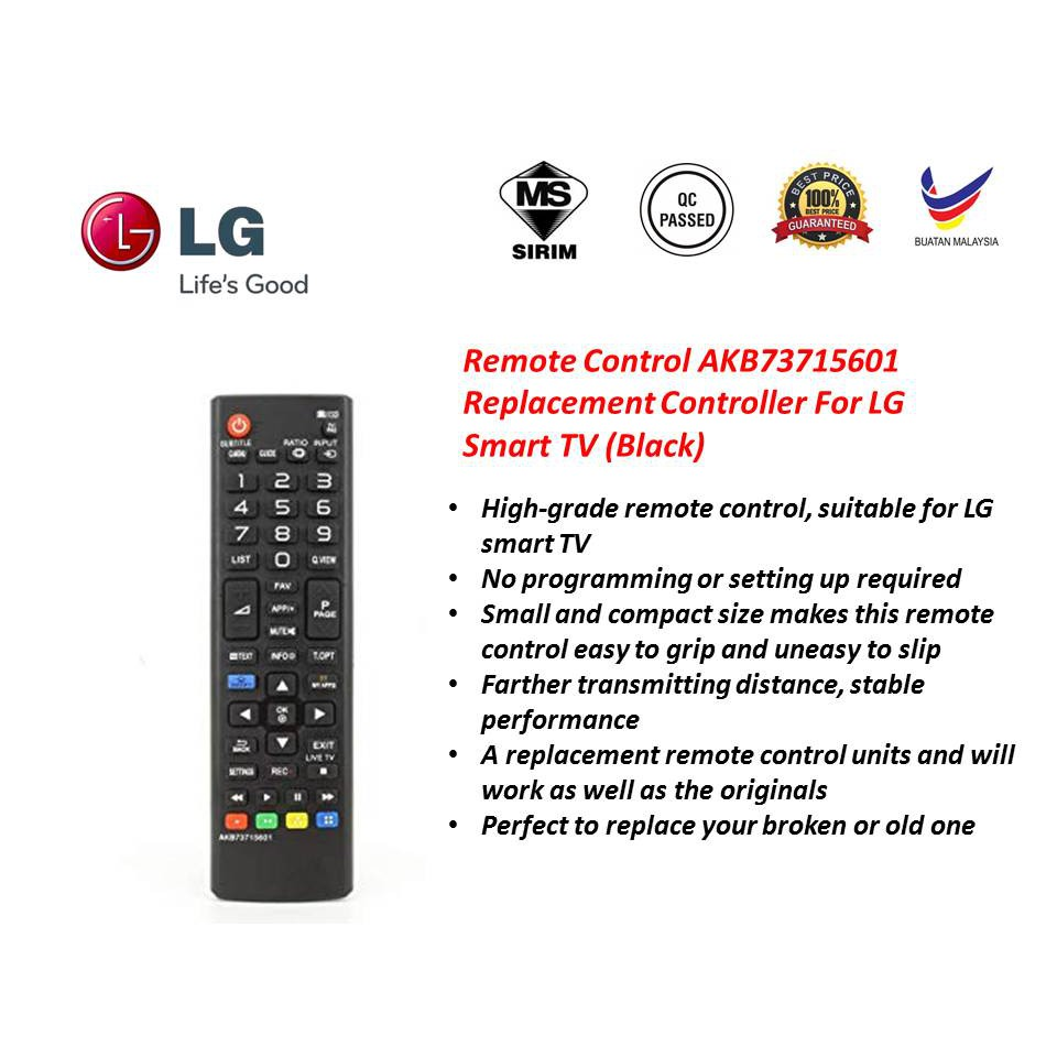 Remote Control AKB73715601 Replacement Controller For LG Smart TV (Black)