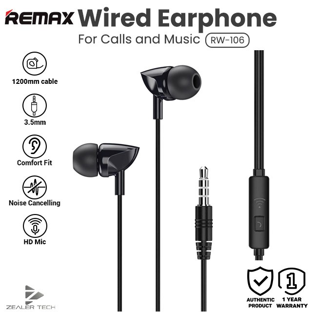 100 Original Remax Wired Headset In Ear Music Call Mobile Phone Headset One Button Control Rw 106 Shopee Malaysia