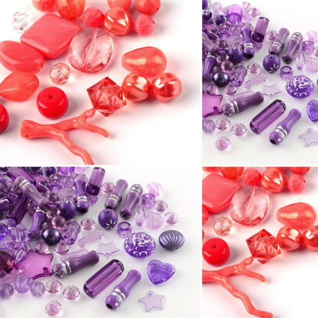 100 Mixed Glass Beads Strings Purple Colours Many Shapes and sizes WHOLESALE