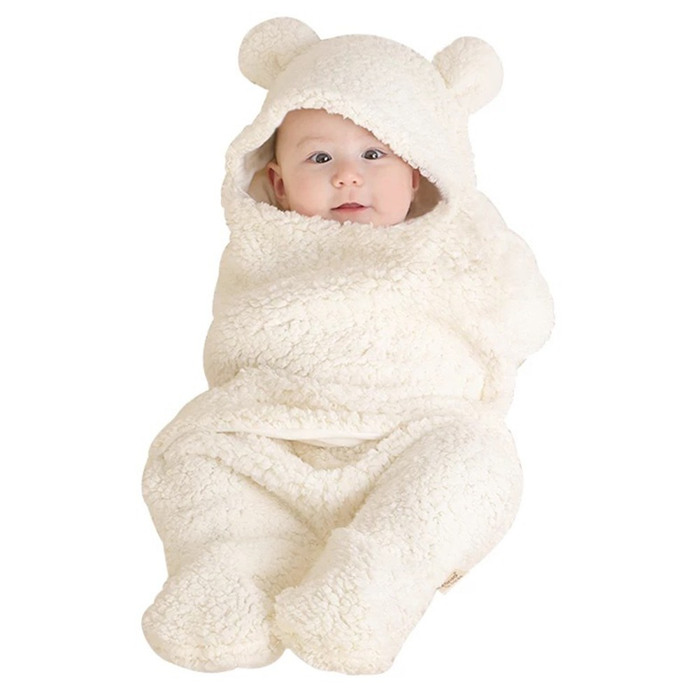 2aef3c417 GM Cute Bear Style Newborn Baby Infant Coral Velvet Swaddle Blanket ...