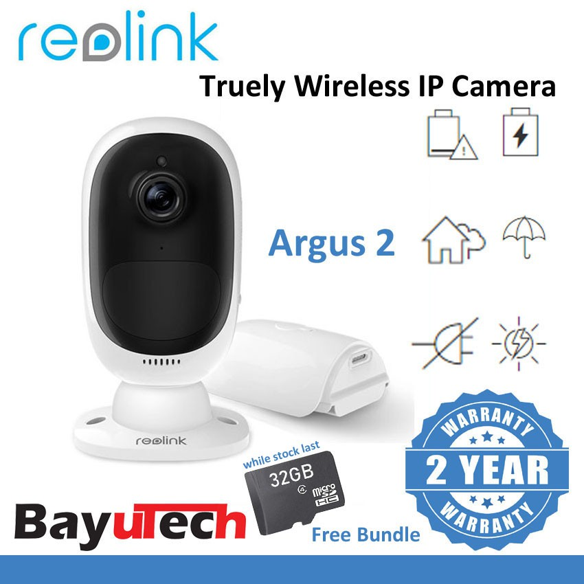 Reolink Argus 2 Rechargeable Battery Outdoor Wireless CCTV Security IP  Camera