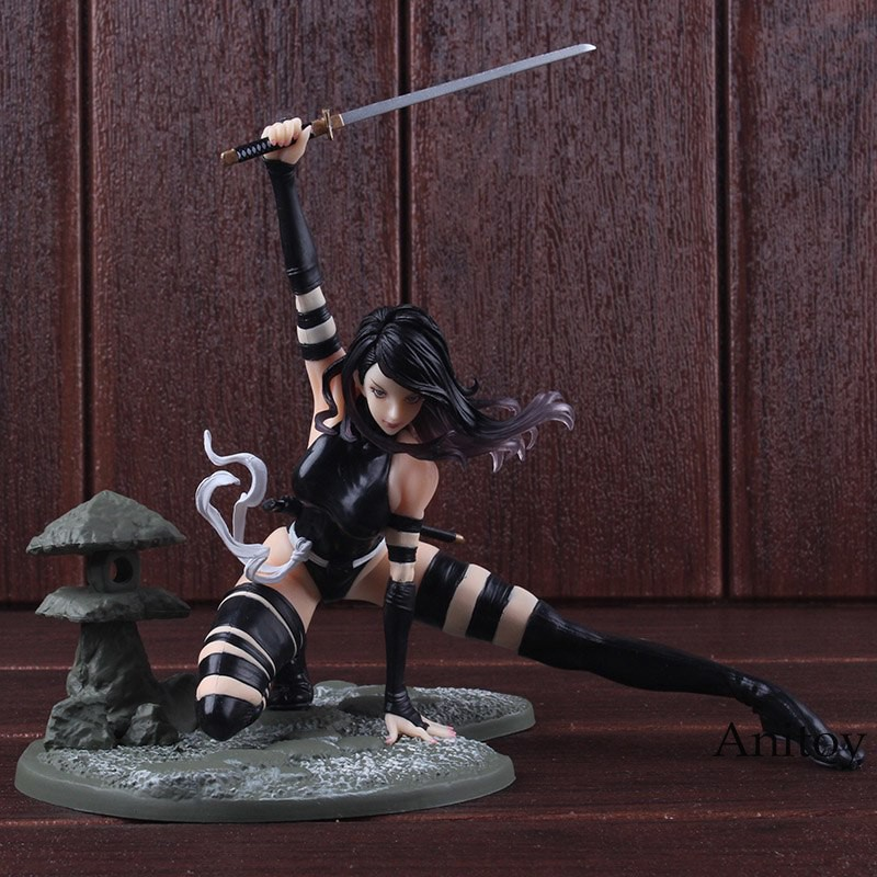 Comics Super Hero Bishouji Psylocke X-Force Ninja Outfit Scenes Statue Figurine