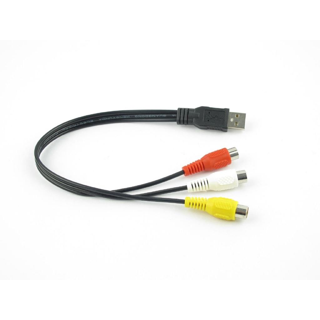 USB Male to 3 Rca RGB Female Video AV A//V Converter Cable HDTV TV Television