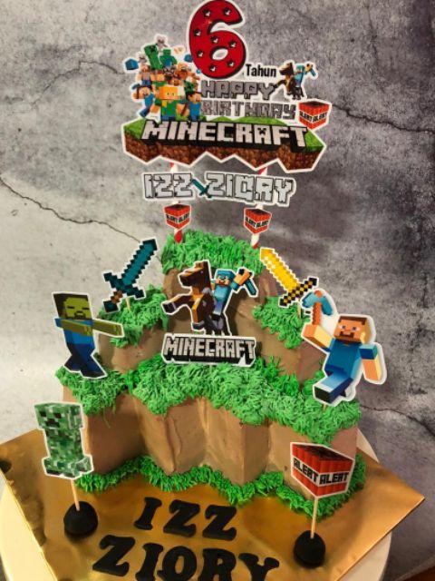 Minecraft Custom Cake Topper Happy Birthday Laminated Material Malaysia Shopee Malaysia