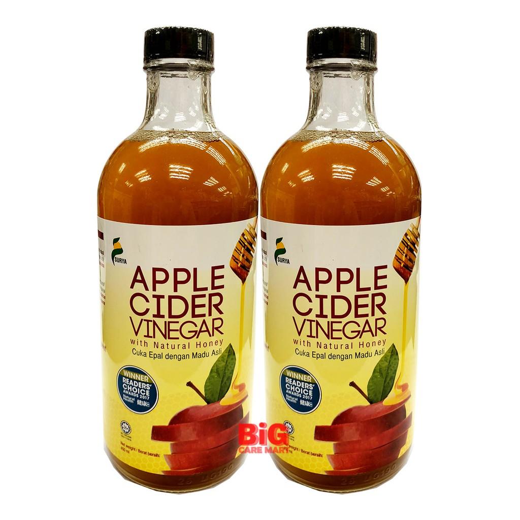 Surya Apple Cider Vinegar with Natural Honey Halal 450ml x 2 Bottles