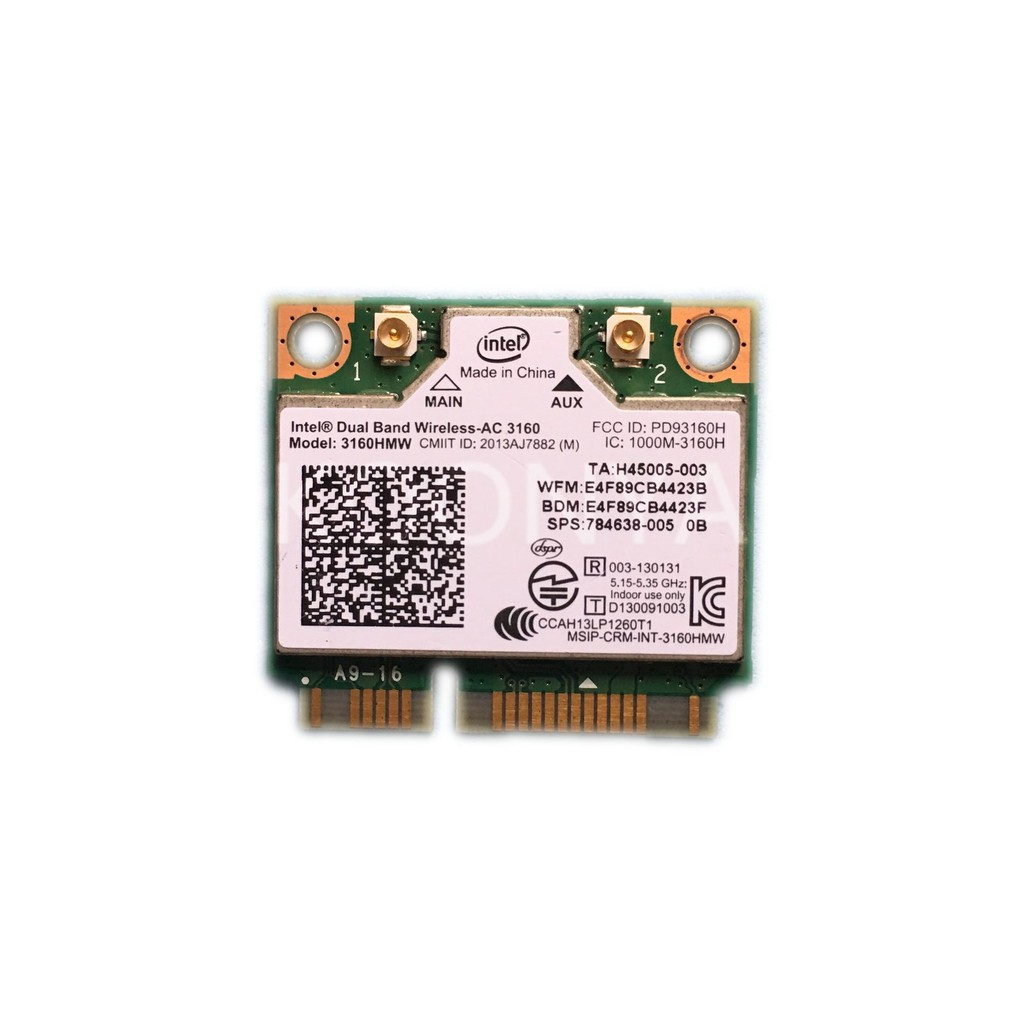 3160HMW Wifi Bluetooth 4 0 Wireless-AC3160 802 11ac Mini PCI-E Wlan Card  433Mbps