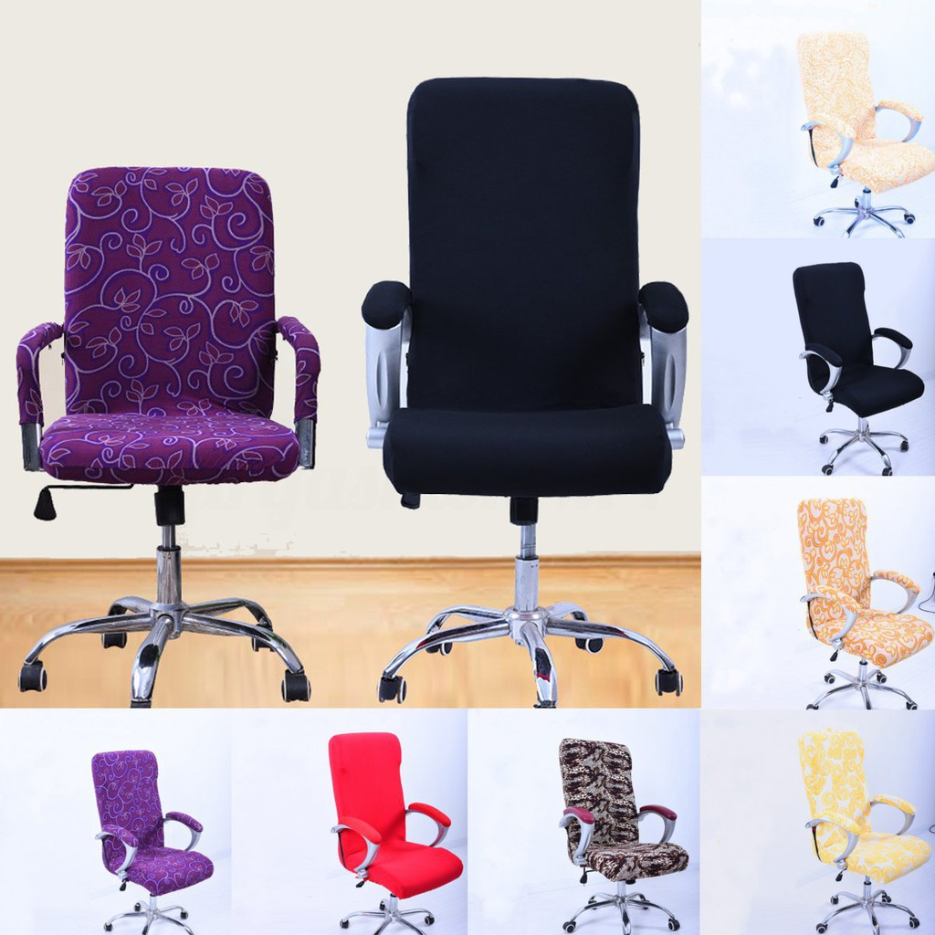 Spandex Elastic Office Chair Slip Cover Protector Rotating Chair Seat Purple