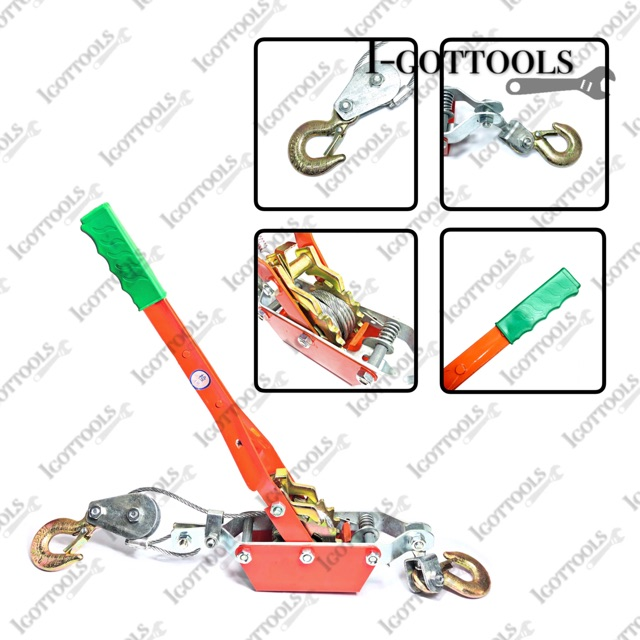 4-Ton Pulling Capacity Wire Rope Dual Ratchet Hand Tighten Power Puller Double Hook Lifting Power Cable Puller