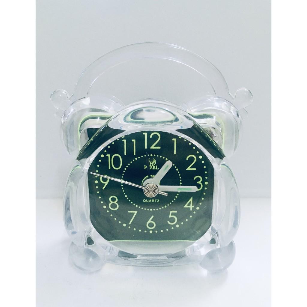 Pearl Clock Mini Travelling Table Alarm Clock Quartz LED Battery Operated