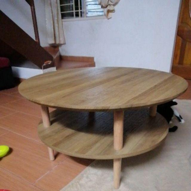 Wooden double Level Round Coffee Table/ MEJA KOPI BULAT ...
