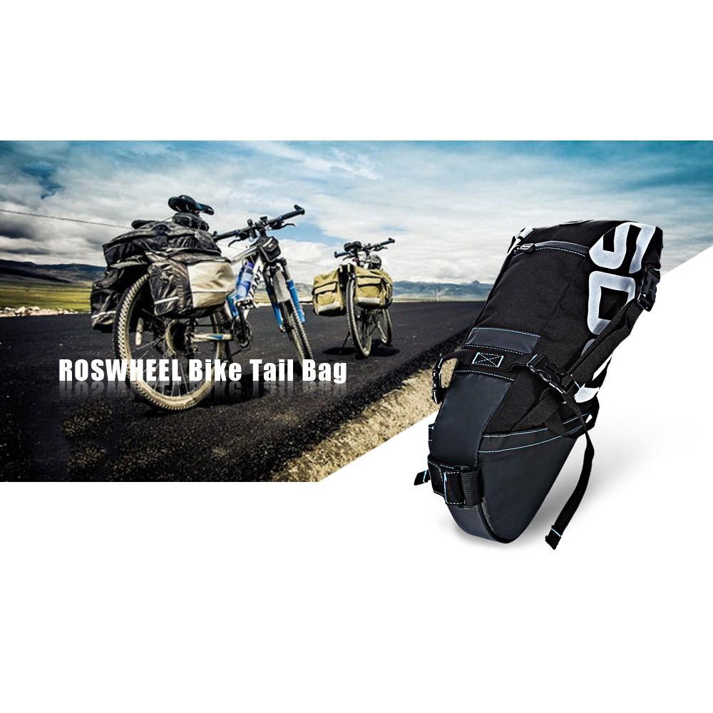 ROSWHEEL 131414 Water-resistant 8L Bicycle Tail Bag Saddle Tube Pouch | Shopee Malaysia