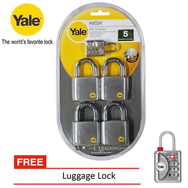 Yale Y120/50/127/4 Silver Series Outdoor Brass / Satin Chrome Padlock Keyed Alike System 50mm (4 Pcs)