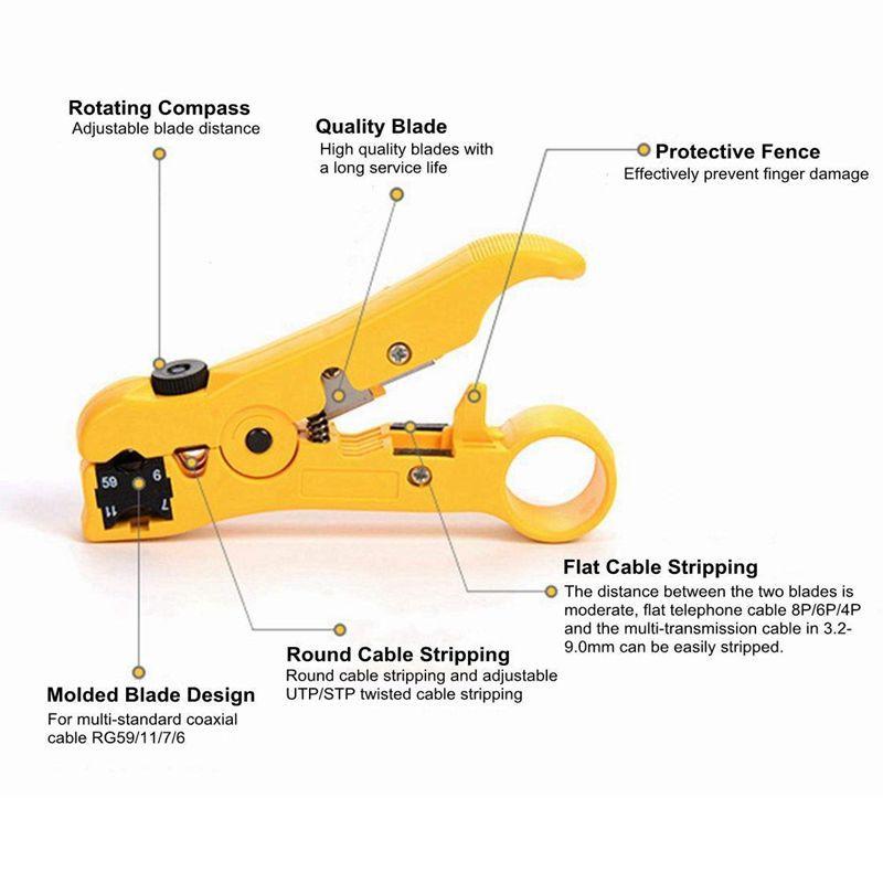 Coaxial Compression Tool Coax Cable Crimper Kit Adjustable RG6 RG59 RG11 75-5 75
