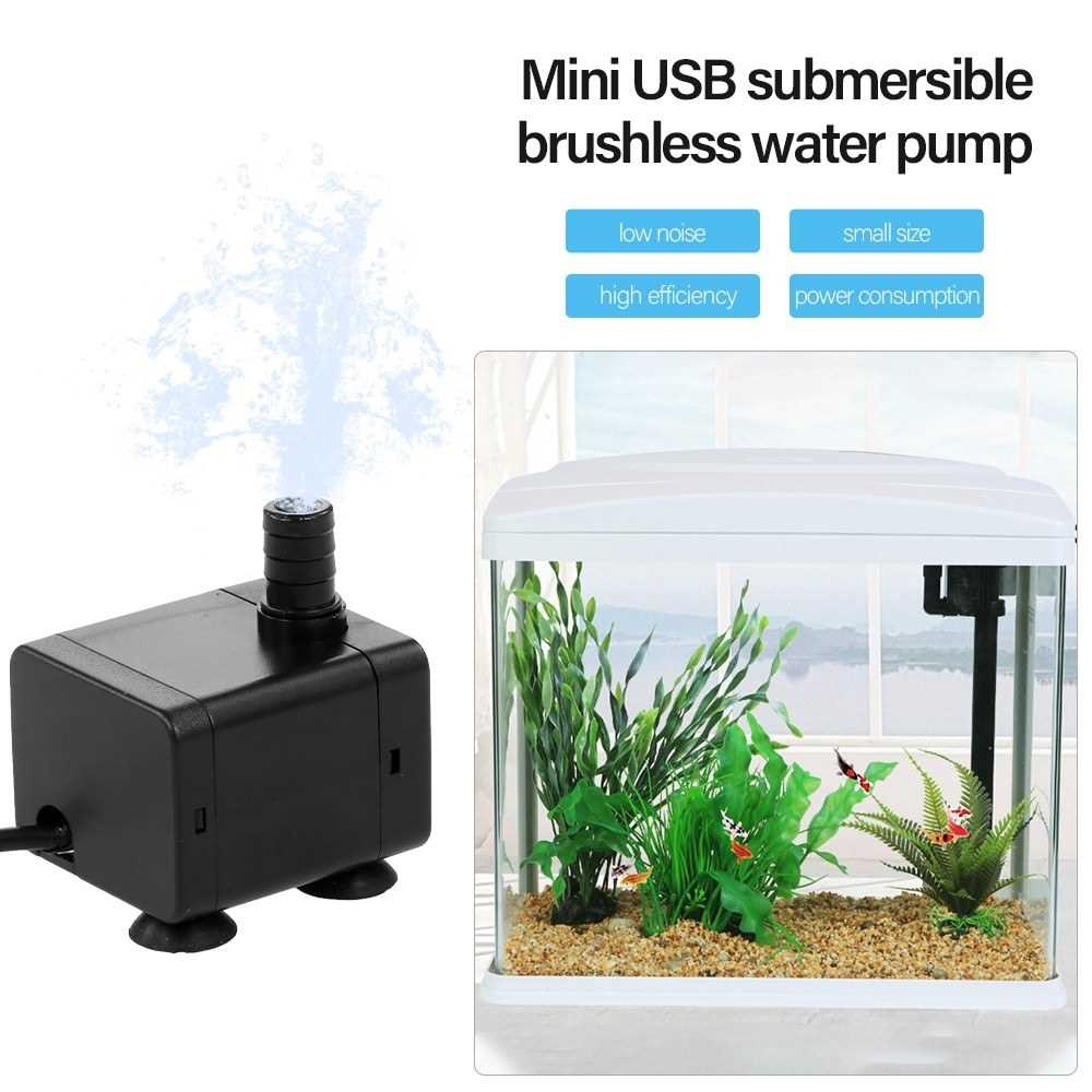 5V Ultra-quiet Mini Brushless USB Water Pump with Power Cord Waterproof for Submersible Fountain Pond Aquarium Fish Tan