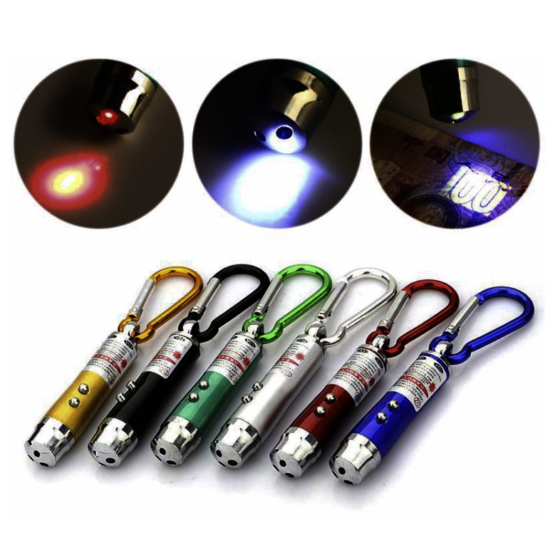 Laser Pointer Pen Flashlight High Quality 3 In 1 UV LED Flashlight Keychain