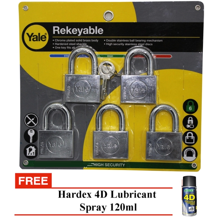 Yale Y118D/50/127/5 Chrome Plated Rekeyable Keyed Alike System Padlock 50mm (5 Pcs)