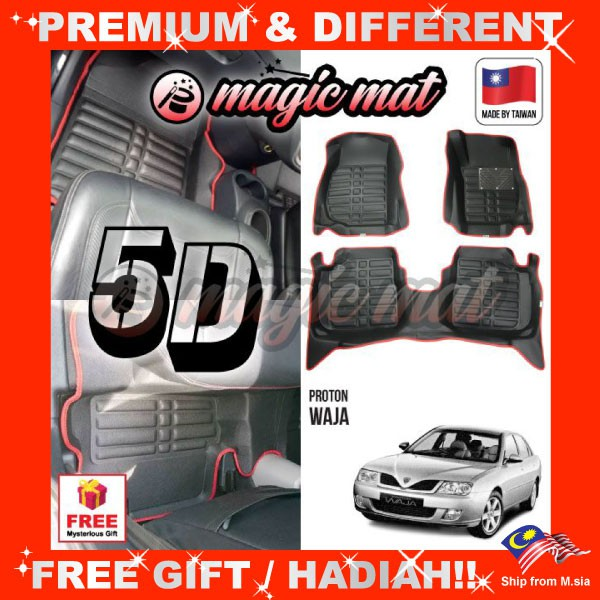 [FREE GIFT Gift] PROTON WAJA (5 Seater) MAGIC MAT 5D OEM PU Leather Floor Mat Anti-Slip Easy Clean Carpet