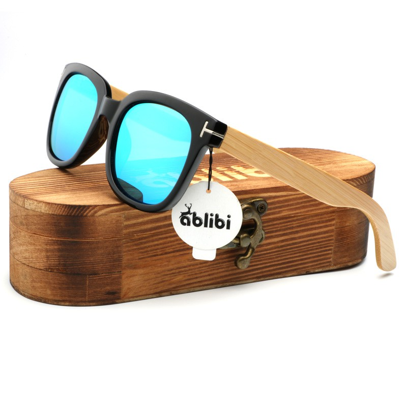 7e0691ff02 Kithdia Blue PC Frame Sunglasses Handmade Bamboo Legs Sunglasses Polarized  and
