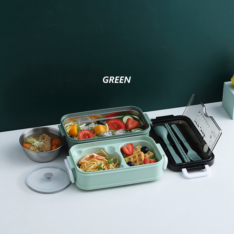 GDeal 304 Stainless Steel Double-Layer Insulated Lunch Box With Tableware Set And Bowl