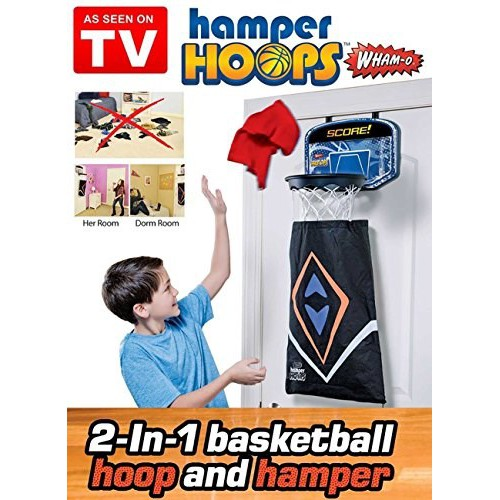 READY STOCK SHP] 2 IN 1 BAKUL SIMPAN PAKAIAN + GOL BOLA KERANJANG Hamper Hoops - Makes Picking Up Dirty Laundry Fun