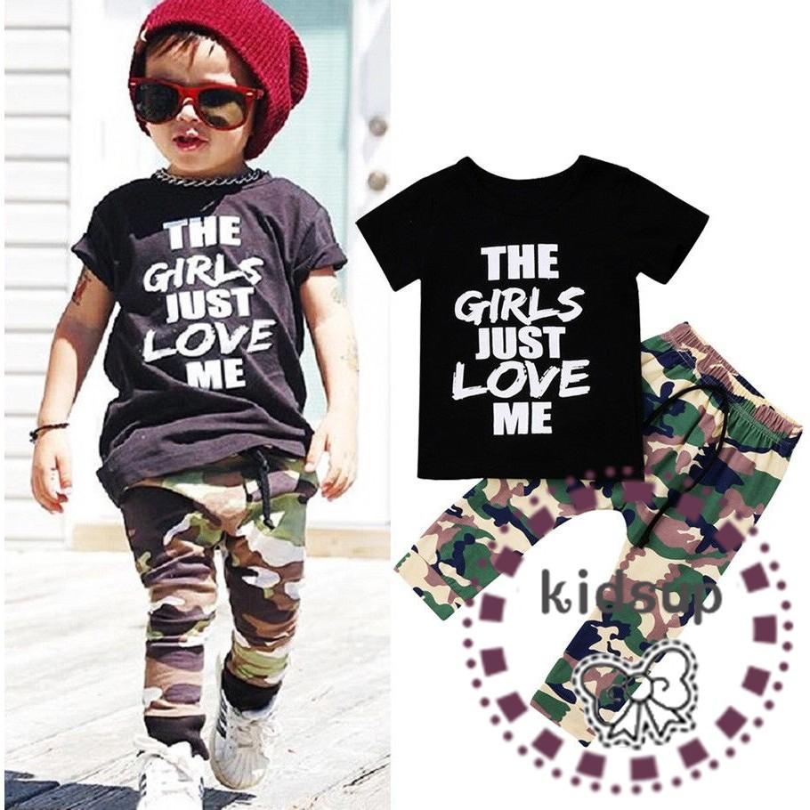 2d9f5047e0bf8 MMU-Fashion Toddler Kids Boys Tops T-shirt Camo Pants 2Pcs Outfits Set  Clothes