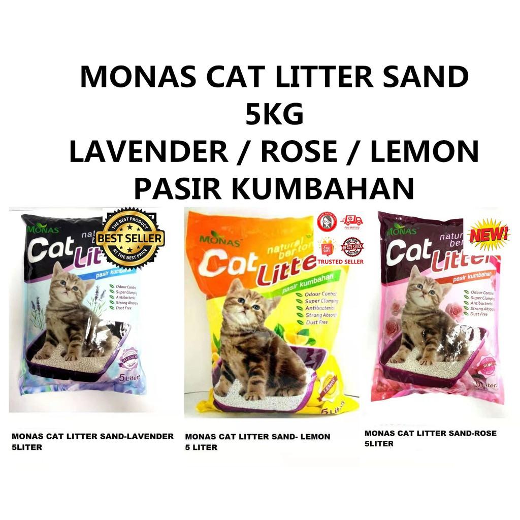 MONAS CAT LITTER SAND 5KG LAVENDER ROSE LEMON PASIR KUMBAHAN