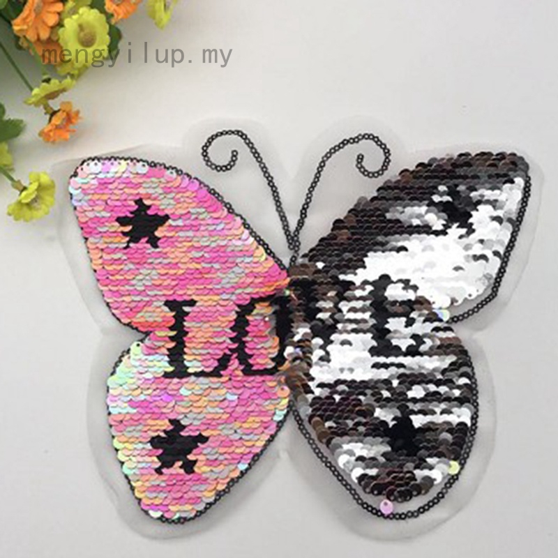 Sew on Sequined Patch Animal Butterfly Sequin Patches Stickers for Clothes DIY Craft Sewing Supplies 22 x 22CM