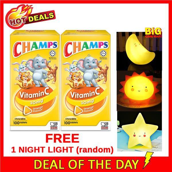 Champs Vitamin C 30mg Orange Flavor 100sX2 + FREE NIGHTLIGHT