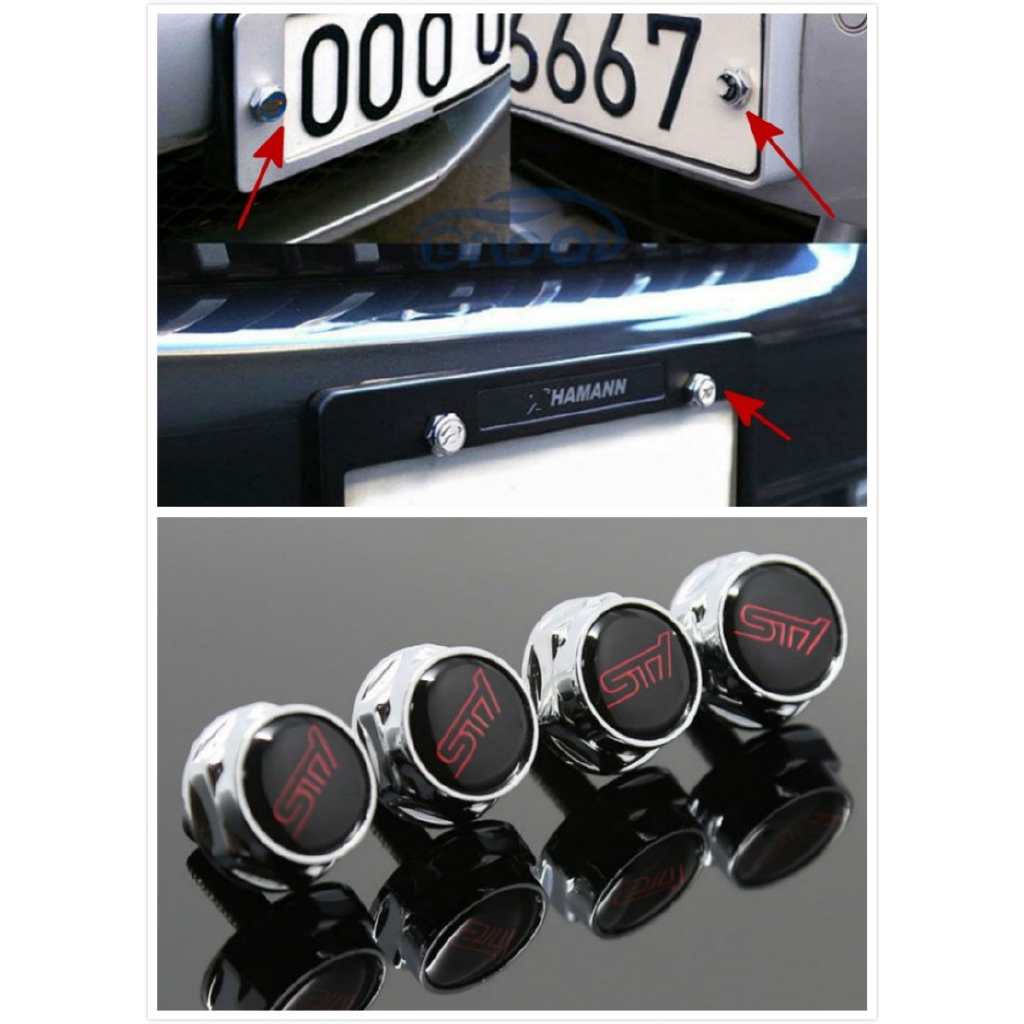 4PCS Alloy Metal Car License Plate Frame Screw Bolts Cap Cover For Mercedes Benz
